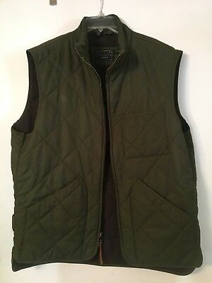 J. Crew Mens Diamond Quilted Vest Size Large Green Pre-Owned