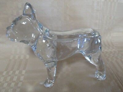 Glass Boston Terrier Candy Container Old Large w/Top Lid