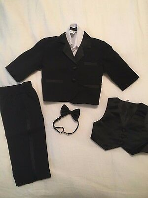 Baby Black Tux / Tuxedo with Bow Tie (In Excellent Condition)