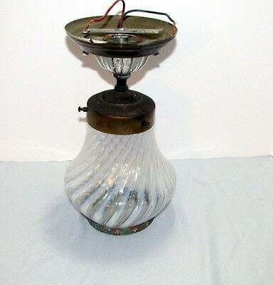 Opalescent Glass Fenton Shade Vintage White Swirl w/ Ceiling Mount Lamp Base