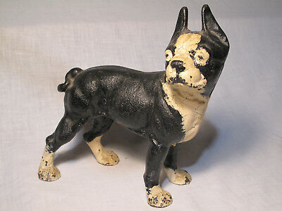 "Antique Hubley USA Cast Iron Dog Boston Terrier French Bulldog Dog 10"", 8 lbs+"