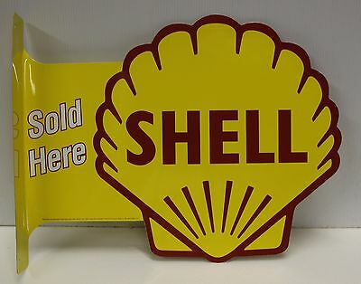 SHELL Logo Double Sided Flange Metal Sign die cut  gasoline motor oil gas