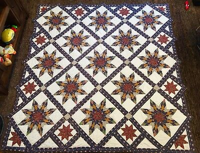 Large Colorful Vintage Hand Made Quilt 8 Point Star 80x80