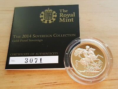 2014 UK Royal Mint - Full Sovereign Gold Proof Coin