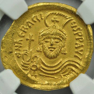610-641 AD Byzantine Empire Gold Solidus (4.20g) NGC CH. AU