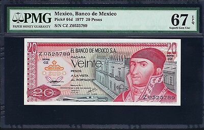 Mexico 1977 P-64d PMG Superb Gem UNC 67 EPQ 20 Pesos