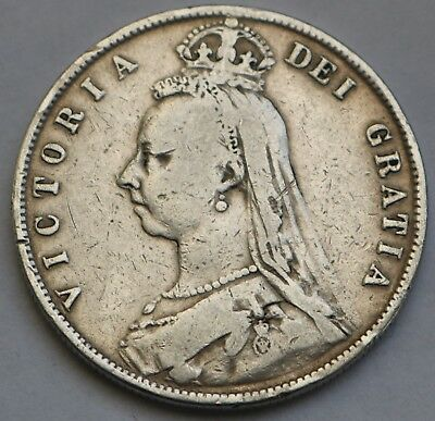 Uk Great Britain Victoria Silver Half Crown 1887 Free Shipping