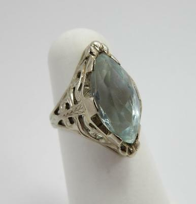 Vintage Ladies Aquamarine & 18kt White Gold Filigree Ring, 4,   #F67