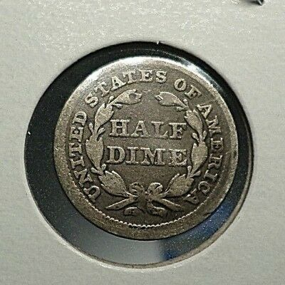1856 Half 1/2 Dime US Type Coin SILVER Seated Liberty. FREE SHIPPING. NO RESERVE