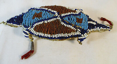Rare 1890's Kiowa Indian Beaded Lizard Fetish #2394