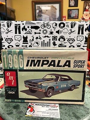 1966 CHEVROLET IMPALA CONVERTIBLE, AMT KIT #6716, BUILDER CAR, BOX of NOS PARTS