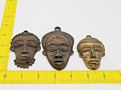 Lot of 3 Vintage African Hand Made Miniature Bronze Mask Free Shipping!