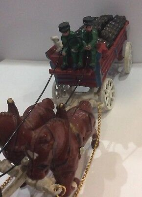 Vintage Budweiser Cast Iron Clydesdale 8 Horses Beer Wagon Drivers Dog & Barrels