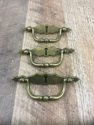 Lot Of 3 Vintage Brass Metal Door Knob Pulls Back Plates Faux Lock Key