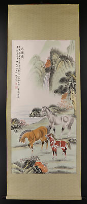 """CHINESE HANGING SCROLL ART Painting """"Horses""""  #E9326"""