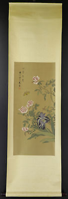 """CHINESE HANGING SCROLL ART Painting """"Flowers""""  #E9344"""