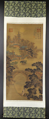 CHINESE HANGING SCROLL ART Painting Sansui Landscape  #E9325