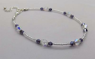 Pretty CLEAR & DEEP PURPLE Anklet /Ankle Bracelet 10 - 11¼""