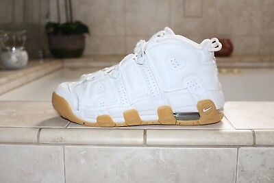 New Nike Air Uptempo Gs White Gum Bamboo Size 7 415082-101