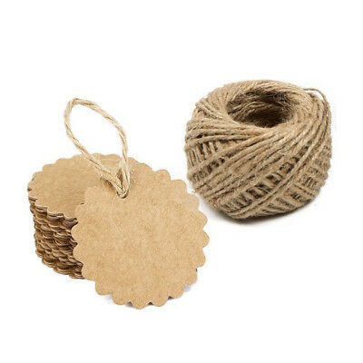 100PCS Kraft Paper Gift Tags Wedding Brown Kraft Hang Tag Bonbonniere Favor O6H7