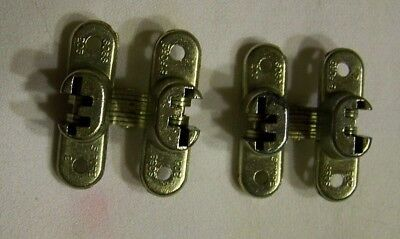 Vintage SOSS Satin BRASS Invisible Cabinet Door Hinges #203 package of 2 hinges
