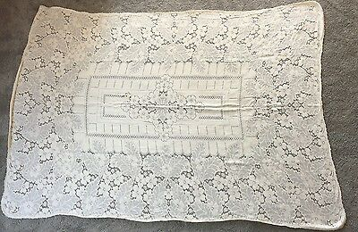 Vintage Ivory Lace Tablecloth approx 72x55