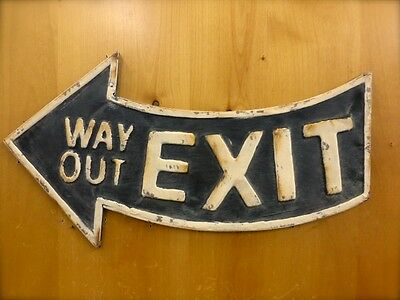 "ANTIQUE-STYLE BLACK METAL ""EXIT WAY OUT"" ARROW WALL SIGN 21"" man cave vintage"