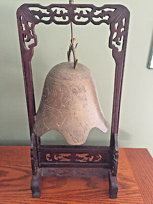 Antique Chinese Carved Rosewood & Etched Brass Pagoda Temple Bell