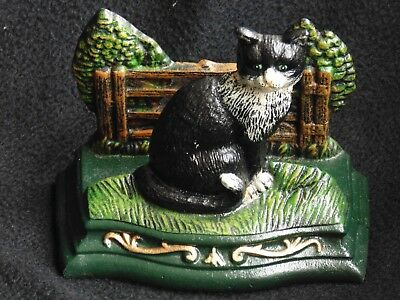 Cast iron vintage cat doorstop painted large cats trees fence country