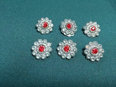 Vintage Pewter and Red Glass Ladies Buttons