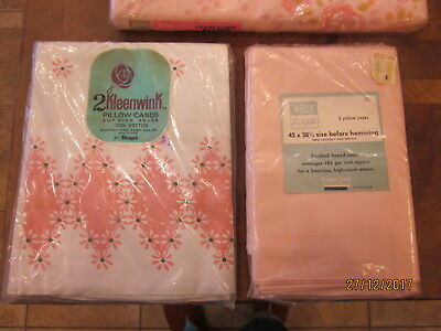 New in Packages Vintage Wells  Royal pink pillowcases & Kleenwink cases