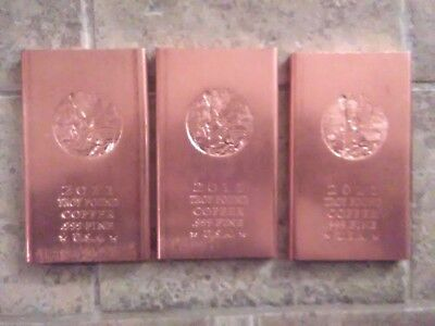 (3)- 1 Troy Pound - .999 Fine Copper Bars. 3 Troy Lbs. Made In Usa 2011 Liberty