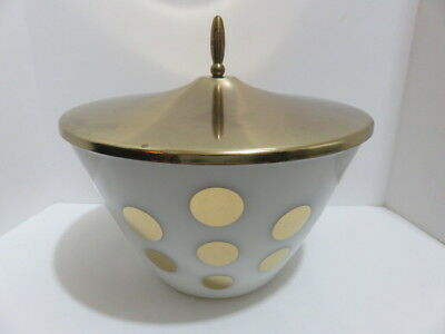 Mid Century Modern Fire King Gold Polka Dot Grease Bowl Jar or Ice Bucket & Lid