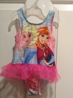 Disney Frozen Anna & Elsa 1-Piece Pink Tutu Toddler Girl Size 2T Swimsuit