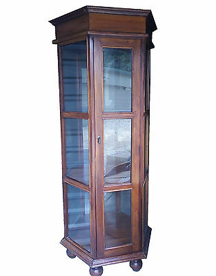 """H-78.5""""indonesia Large Jewelery Stand Case Display Cabinet Tower Teak Wood Glass"""