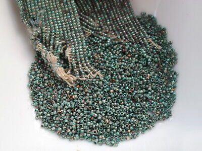 Antique French Steel Cut Beads Remnant Metal Micro Tubes Green Aqua Silver 38Bpi