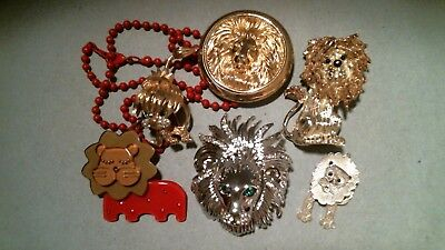 Group Of Lion Jewelry - Lot Of 6 Pieces