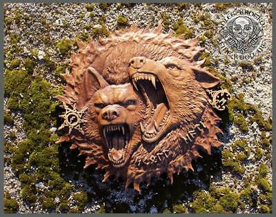 """Perfectly Ethnic Wood Carving  Celtic Gods Norse Rune Wall Hang """"HATI & SKOLL""""."""