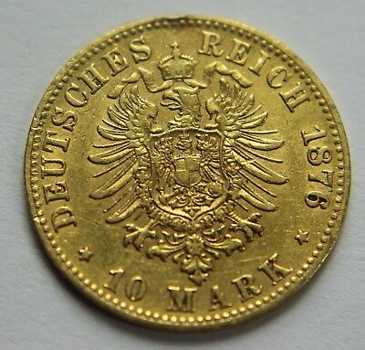 1876-F 90% Gold 10 Reich Mark Germany German States Wurttemberg World Coin W023