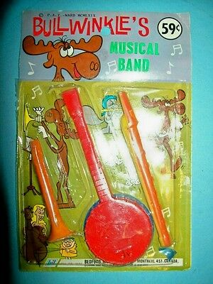 1969 Bullwinkle's Musical Band Toys - Still Sealed on Original Display Card!