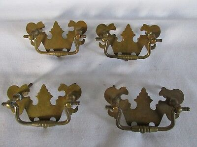 Vintage Brass Fancy Chippedale Style Drawer Pulls