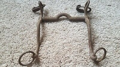 Western ANTIQUE Primitive Hand Forged Horse Riding Curb Bit with Rings