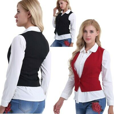 Office Lady Vest Women Short Waistcoat Business Dress Suit V Neck Uniform Formal