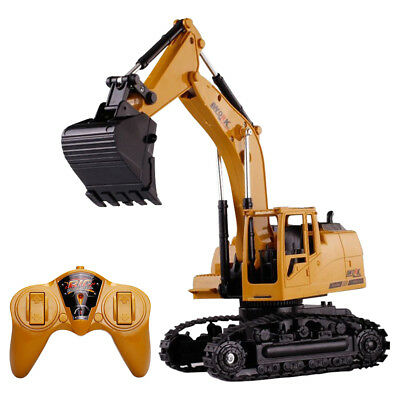 Remote Control 5CH RC Excavator Kids Toy Truck Digger Lights  Construction Gift
