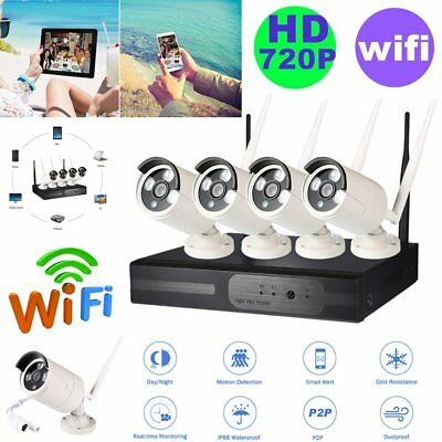 MXG Wireless 4CH 1080P NVR 4x 720P WIFI Camera Outdoor Home Security System KJ