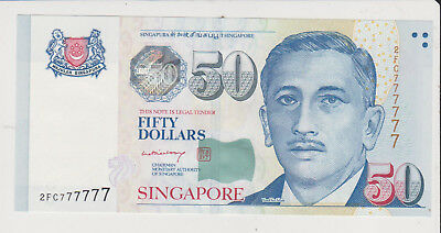 Singapore ND 50 Dollars serial number lucky solid 7 P-49 perfect GEM UNC nice!