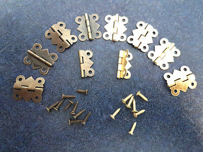 1~5Pairs Mini Antique Metal Hinge for Boxes & Model Building - BRASS or GOLD