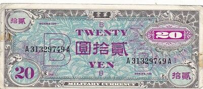 1945 Japan 20 Yen Allied Military Currency Note, Pick 73