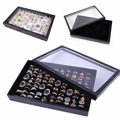New 100Slot Ring Display Case Organizer Jewelry Storage Box Tray Holder with Lid
