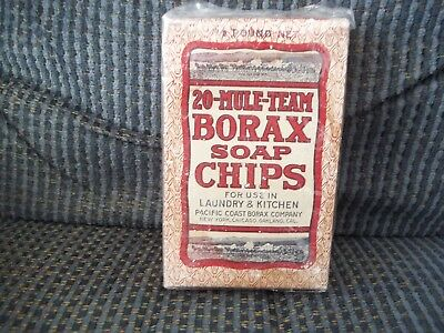 Vintage 20 Mule team BORAX Soap Chips Unopened Box 1/2 Pound Net 1930's??